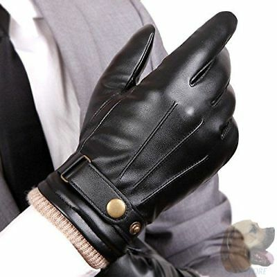 Mens Winter Leather Hand Warm Gloves Touch Screen Texting Glove Cashmere Blend
