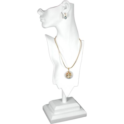 """White Mannequin Necklace Bust Jewelry Display 19 1/2"""" New"""