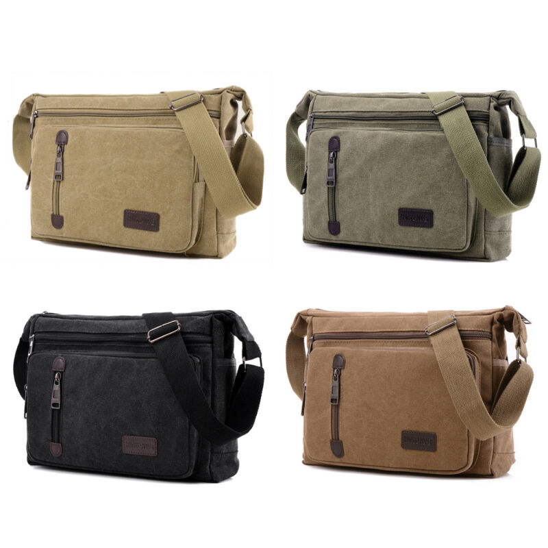 Mens Vintage Canvas Messenger Shoulder Bag Crossbody Sling School Travel Satchel