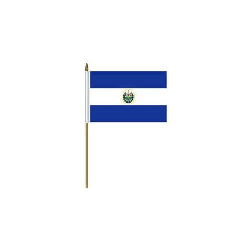 """EL SALVADOR Country Small 4 X 6  Mini STICK FLAG With 10"""" PLASTIC POLE .. New"""