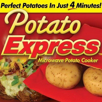 2 Bags New Potato Express Microwave Cooker 4 Minutes Fast Reusable Washable