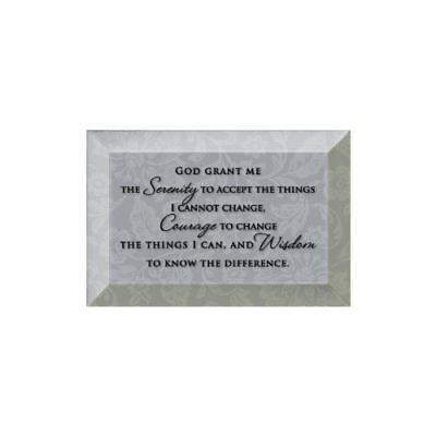 (NEW Dexsa Serenity Prayer Beveled Glass Plaque with Easel DX7012)