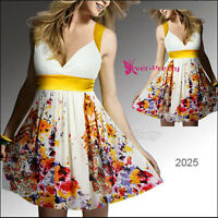 Brand New Yellow Accent Floral Summer Dress