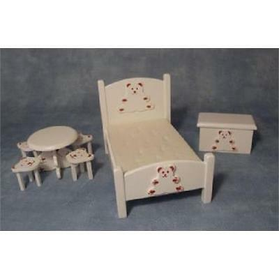 Dolls House 1/12th Scale White Bear Styled Bedroom Set DF1519