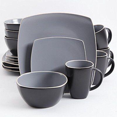 Gibson Home Soho Lounge Matte 16 Piece Dinnerware Set, Gray/Black (94851-16)