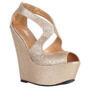 Glitter Wedge Heels