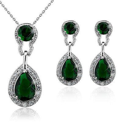Vintage Luxury Teardrop Jewellery Set Emerald Green Drop Earrings Necklace S409