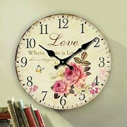 Romantic Roses Clock, 12 Eruner Country Floral Wall Clock *Love* Wooden Art