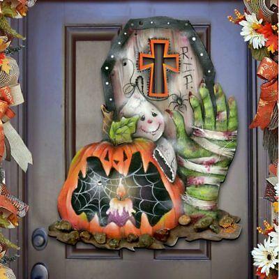 """Halloween """"Scary Harry"""" Wooden Wall Decor - Door Hanger by Jamie Mills-Price](Jamie Mills Price Halloween)"""