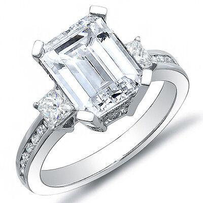 2.86 Ct. Emerald Cut w/ Princess Cut Diamond Engagement Ring H, VS1 GIA Plat