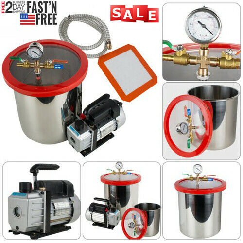 5Gallon 21L Stainless Steel Vacuum Degassing Chamber Silicone 3CFM W/ Pump Hose