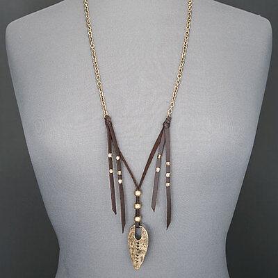 Long Antique Gold Finish Bohemian Hammered Arrowhead Tassel Pendant Necklace