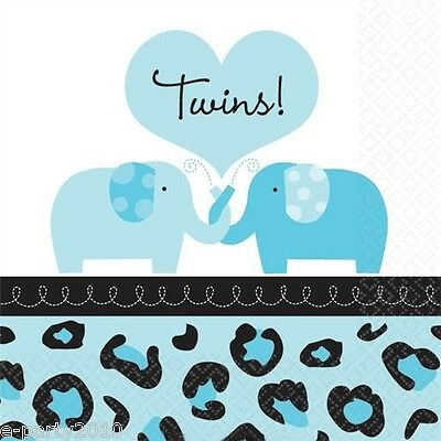 SWEET SAFARI BOY TWINS SMALL NAPKINS (36) ~ Baby Shower Party Supplies Blue  ()