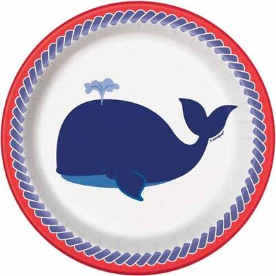 SUMMER Nautical Whale SMALL PAPER PLATES (8) ~ Birthday Party Supplies Dessert (Whale Paper Plates)
