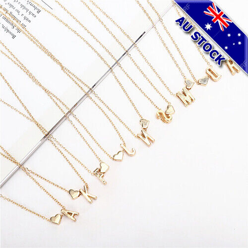 Jewellery - Fashion 18K Gold Plated 26 Letter With Heart Pendant Necklace Jewelry