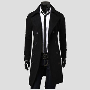 Mens Stylish Trench Coat Slim Winter Warm Long Jackets Double Breasted Outwear