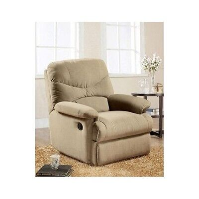 Recliner Chair For Living Room Tan Beige Family Room Seat Microfiber Office