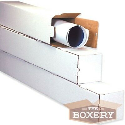 3x3x30 White Corrugated Square Mailing Tubes 25cs From The Boxery