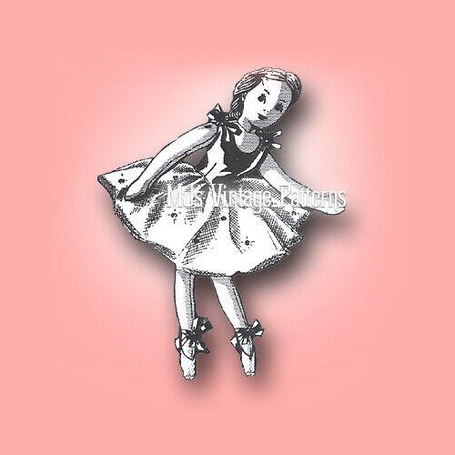 "Vintage Sequin Costume 20"" Ballerina Cloth Stuffed Doll Toy Pattern"