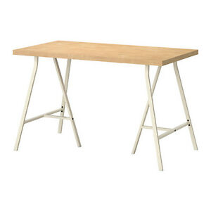 Tornliden Table Top Pine Veneer + Two Lerberg Legs, White IKEA Kingston Kingston Area image 3