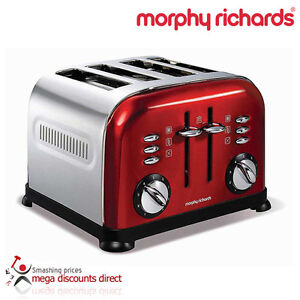 Morphy Richards Accents 44732 4 Slice Toaster, Red