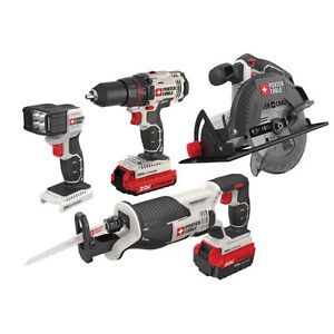 Porter Cable 20V MAX Cordless Lithium Ion 4-Tool Combo Kit PCCK614L4 NEW