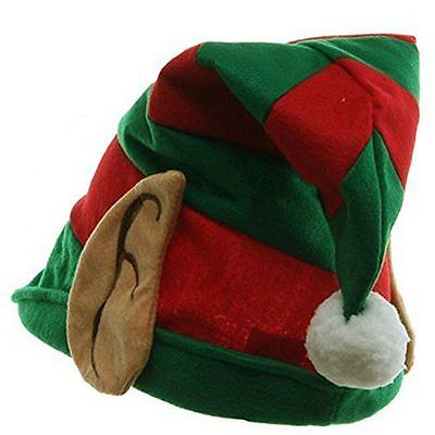 Elf Hat with Ears Green and Red Striped Santa Christmas Helper Costume Party