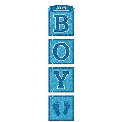 BABY BOY DELUXE GLITTER HANGING DECORATION ~ Shower Party Supplies Blue Banner](Baby Boy Supplies)