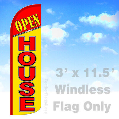 Open House - Windless Swooper Feather Flag 3x11.5 Banner Sign - Yq
