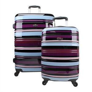 Swiss Case 4 Wheel Spinner ABS 2 PC Luggage Set COLORFUL Hardside Suitcases New