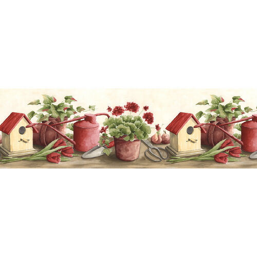 Birdhouse Watering Can Flower Pot Garden Country Theme Red WallPaper Wall Border