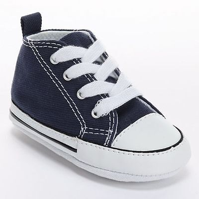 Converse Navy Blue White Boy Girl Infant Baby Crib Shoes New