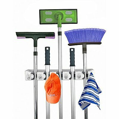 Wall Mount Mop and Broom Holder, 5 position with 6 hooks garage storage Position Wall Mount
