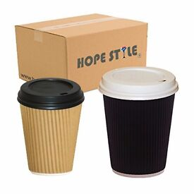 Insulated Ripple Hot Drinks Coffee Paper Cups Takeaway Catering Disposable + Lids