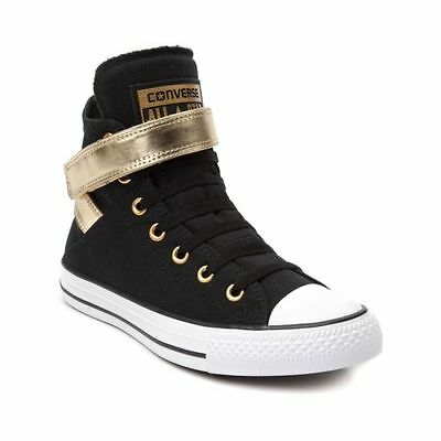NEW Womens Converse Chuck Taylor All Star Hi Brea Sneaker Black/Gold Strap (Converse Chuck Taylor All Star Hi Metallic Sneaker)