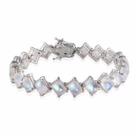 Sterling Silver Rainbow Moonstone Bracelet and Ring