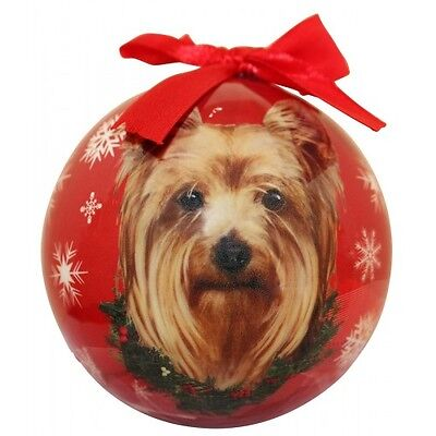Yorkshire Terrier Christmas Ornament Yorkie Shatter Proof Ball Dog Snowflakes  ()