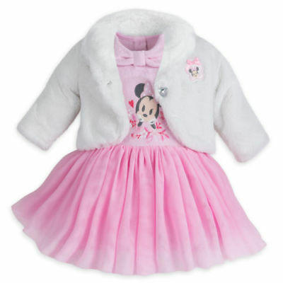 Disney Store Minnie Mouse Fancy Dress Set for Baby Fluffy Coat & Pink Tutu Dress