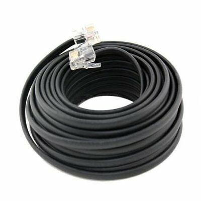 100 FT Feet RJ11 4C Modular Telephone Extension Phone Cord Cable Line Wire Black