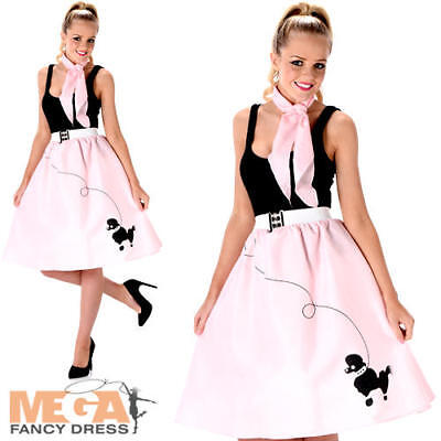 Baby Pink Poodle Skirt Ladies Fancy Dress 50s 60s Rock & Roll Womens Costume New - Baby 50s Costume