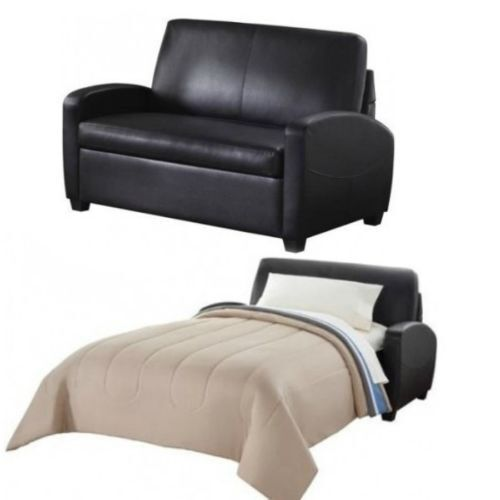 Ss44411 Mainstays Leather Sofa Couch Convertible Sleeper Mattress Twin Bed Living Room Chair