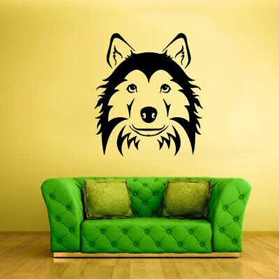 Wall Vinyl Sticker Bedroom Decal Husky Dog Face Head Animal (Z1996)