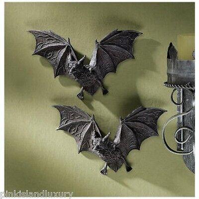 2 Count Dracula VAMPIRE BATS HALLOWEEN Wall Sculpture Statue Unique Goth - Halloween Vampire Props