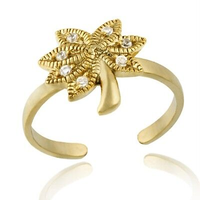 18k Gold/Silver Designer-Inspired CZ Palm Tree Toe Ring