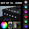 10 X 30MM LED DECKING/PLINTH LIGHTS DIMMABLE IP65 RGB COLOUR CHANGING
