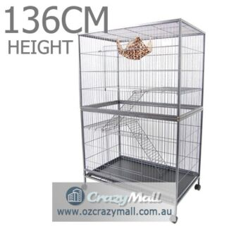 Bird  Cage 3 Level Hamster Budgie Pet Aviary With Wheels
