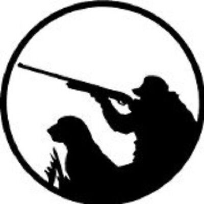 HUNT Duck Bird HUNTER WITH DOG Hunting Round decal for car / truck window