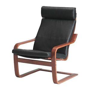 Fauteuil Ikea Poang en cuir noir recherché