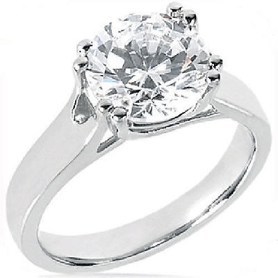 2.04 carat Round Diamond Ideal Cut  Engagement Solitaire 14k white Gold Ring SI1