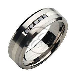 new titanium and silver inlay black wedding ring